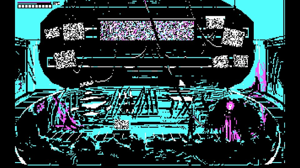 a sci fi setting with multiple tv screens with the character facing a monster with a pink eye