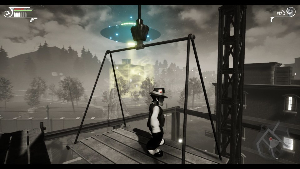 Timothy from Timothy Vs. the Aliens stands on a hanging platform with a park in the background on the left and a building to the right