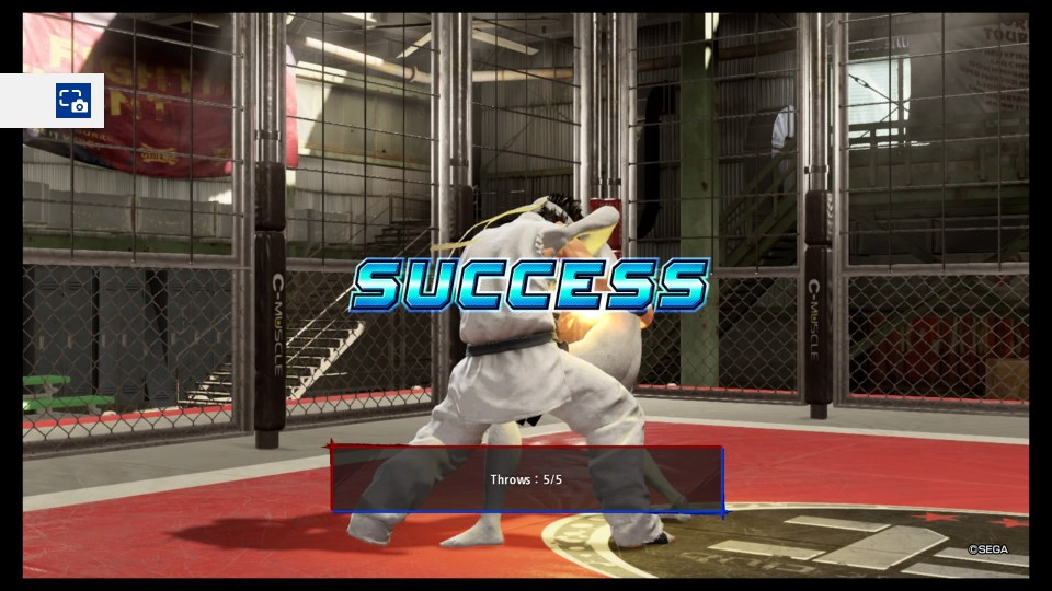 The player throwing the training dummy with the word success in the middle of the screen