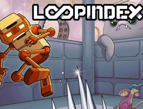Key art for the game showing one of the game's protagonists jumping over spikes, with the game logo on display.