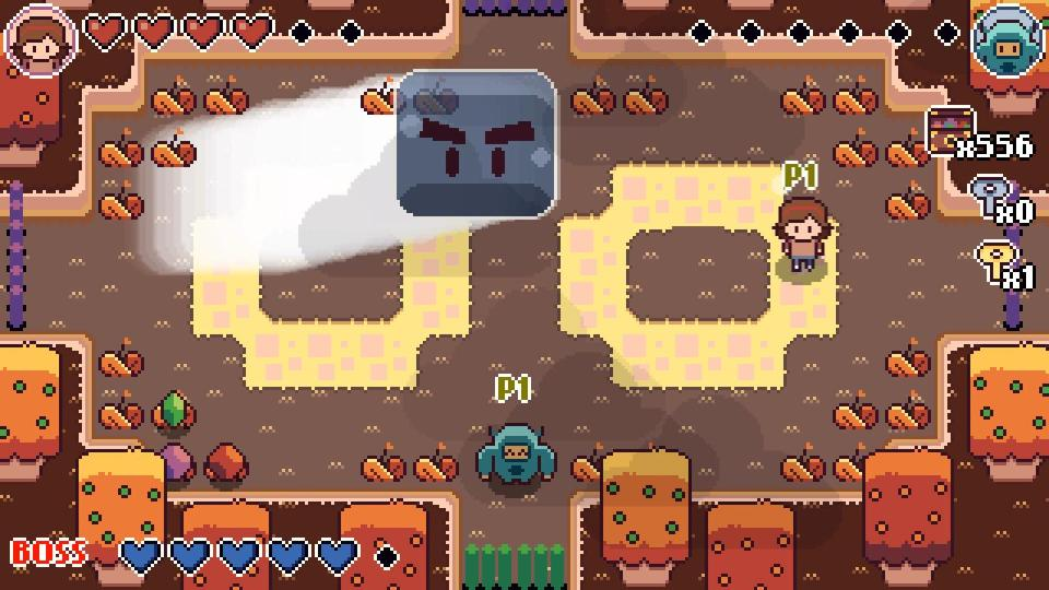Screenshot for the game showing Mina and Michi battling against a big slime enemy with big eyebrows.