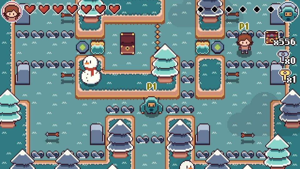 Screenshot for the game showing Mina and Michi navigating a Winter-themed area whilst avoiding arrows.