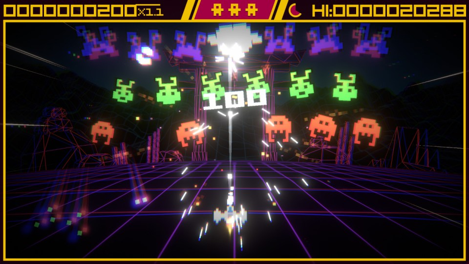 A fighter shooting at aliens in Super Destronaut DX-2