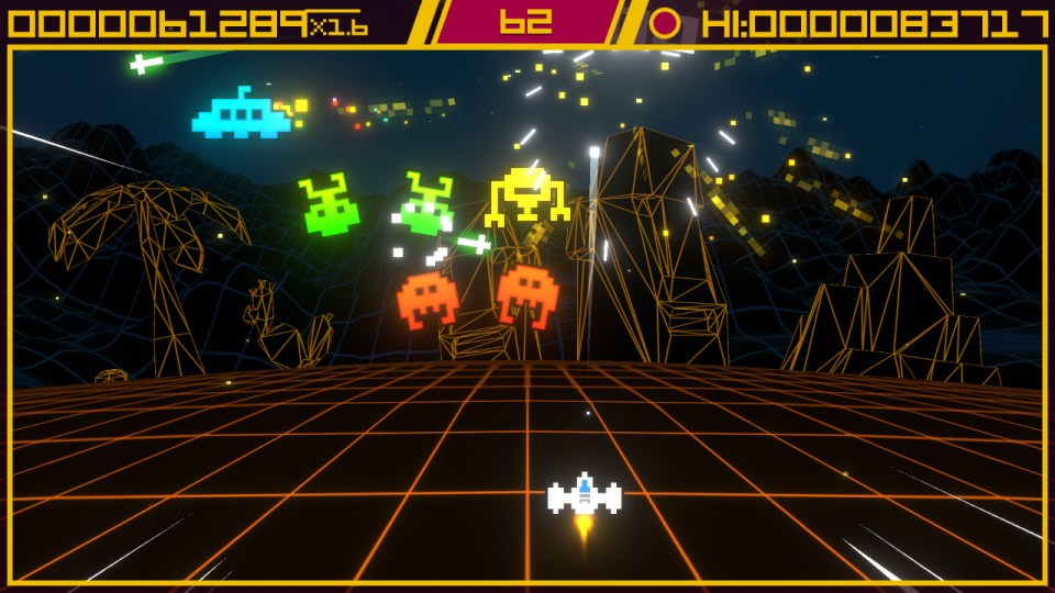 A fighter shooting at aliens in bullet restriction mode in Super Destronaut DX-2