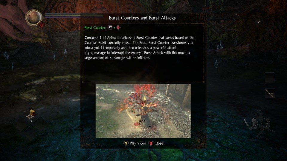 A description of the burst counter in Nioh 2 - The Complete Edition, image shows a character performing a burst counter