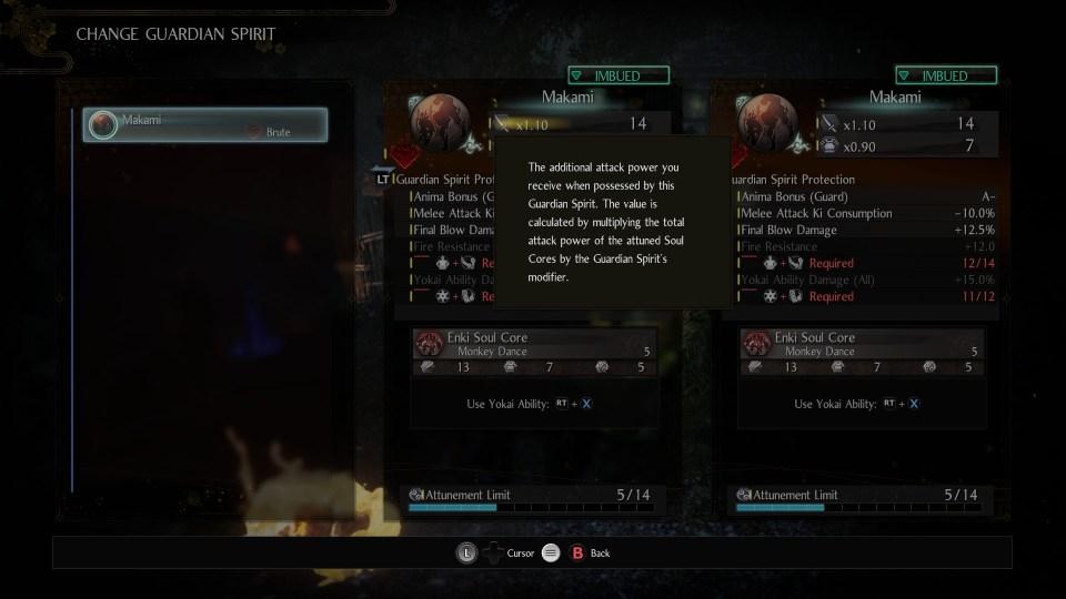 A screen where you can change your guardian spirit