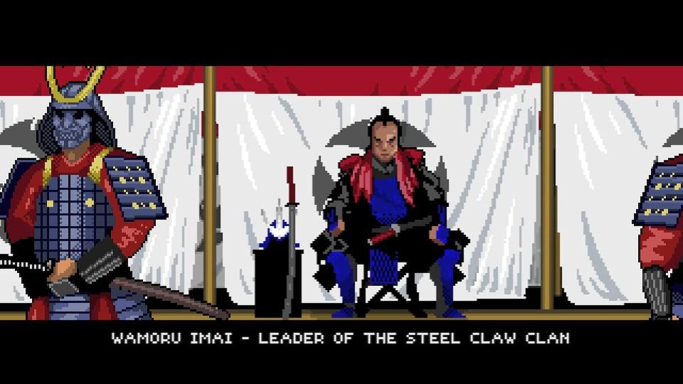 Shows a cutscene describing wamoru imai. He is a samurai with blue armor.