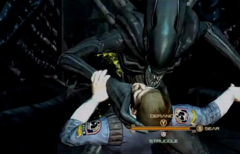 The player character is grabbed by a xenomorph, and is presented with three options for escape.