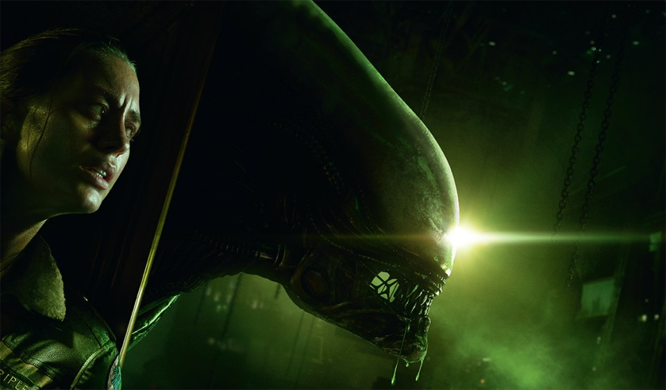 The cover art for Alien: Isolation. The main character hides against a wall, where on the other side the head of the xenomorph creeps out.