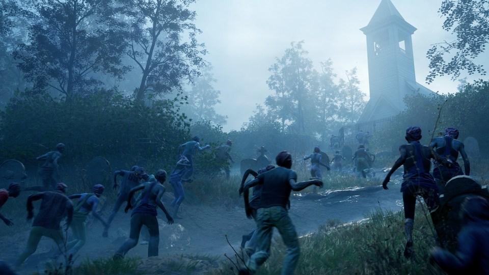 A horde of zombies rush a distant church in Back 4 Blood