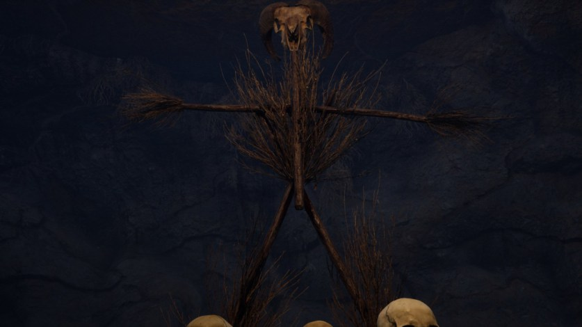 A skull-topped scarecrow set ominously against a dark sky.  Horror Story: Hallowseed Early Access Review on PC
