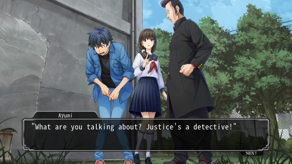 Conversation between three characters