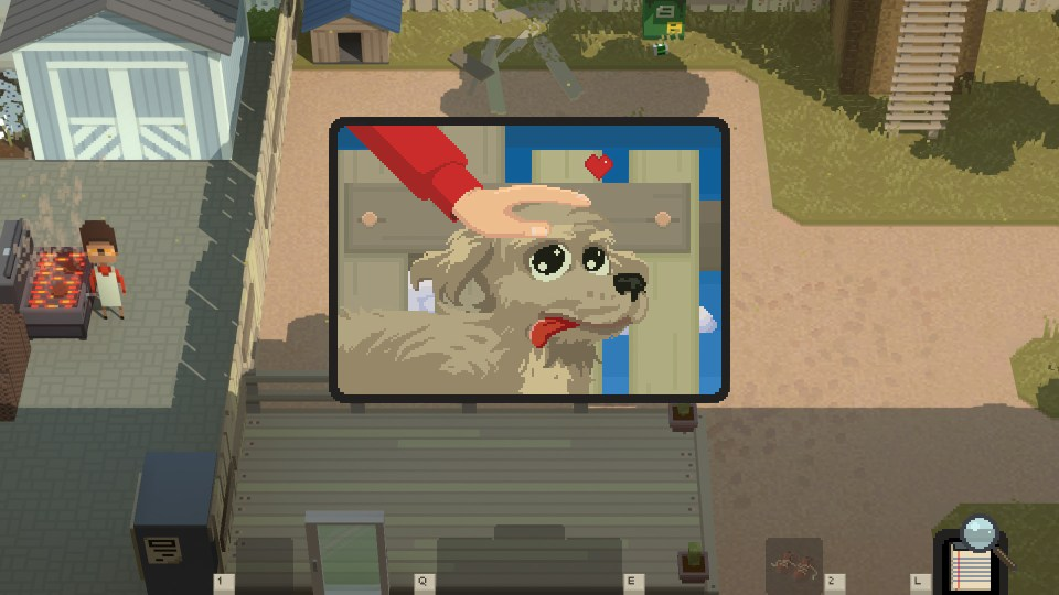 A pixel art dog being petted
