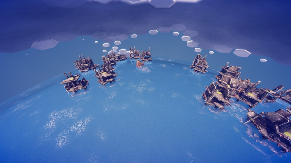 A number of ruined concrete skyscrapers rest submerged in a vast ocean.