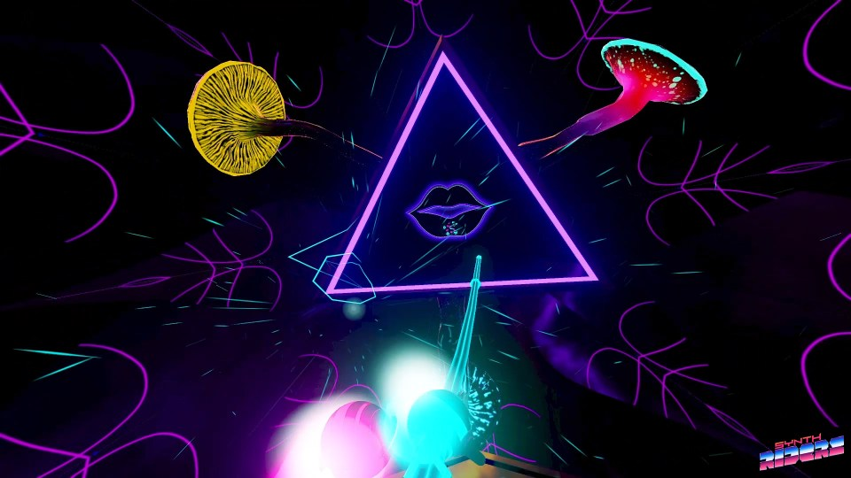 A neon coloured backdrop with three mushrooms surrounding a triangle with lips at its centre