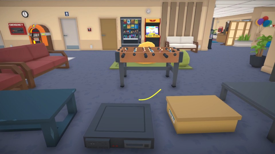 Freddy Spaghetti next to a foosball table in an office.  Freddy Spaghetti 2 PS5 Review for Rapid Reviews UK