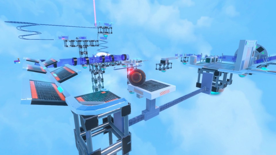 Several platforms and tunnels with the orbibot in the middle of the screen resting on a platform