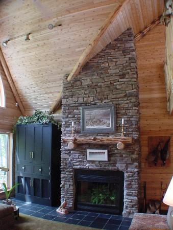 The Sherwood Cedar Log Home Optional Fireplace