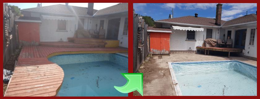 Pool deck removal in Oshawa