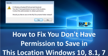 How to Fix You Don't Have Permission to Save in This Location Windows 10, 8.1, 7