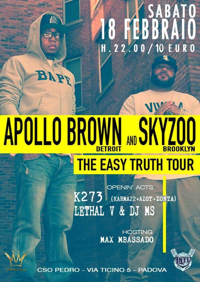 Apollo Brown & Skyzoo live a Padova – 18 febbraio 2016