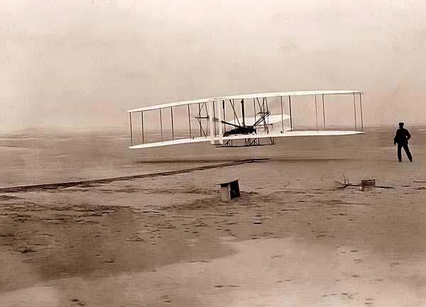 A memorable flight by anyone's definition.  The Wright brothers make the first heavier-than-air flight in 1903.