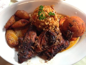 Jerk chicken, extra spicy. The plantains and sweet potato were particularly good.