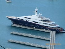 A mega-yacht typical of the kind found around St. Thomas