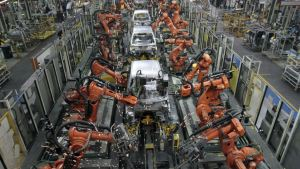 The modern automotive assembly line: machines building machines without variation.