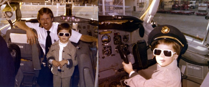 Trying out the pilot's seat after my first flight in an airplane, a TWA 727.  This was in St. Louis, circa 1977.