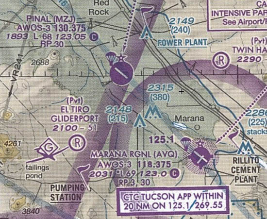Note the similarity between Pinal and Marana in terms of location, runway orientation, and relative size.
