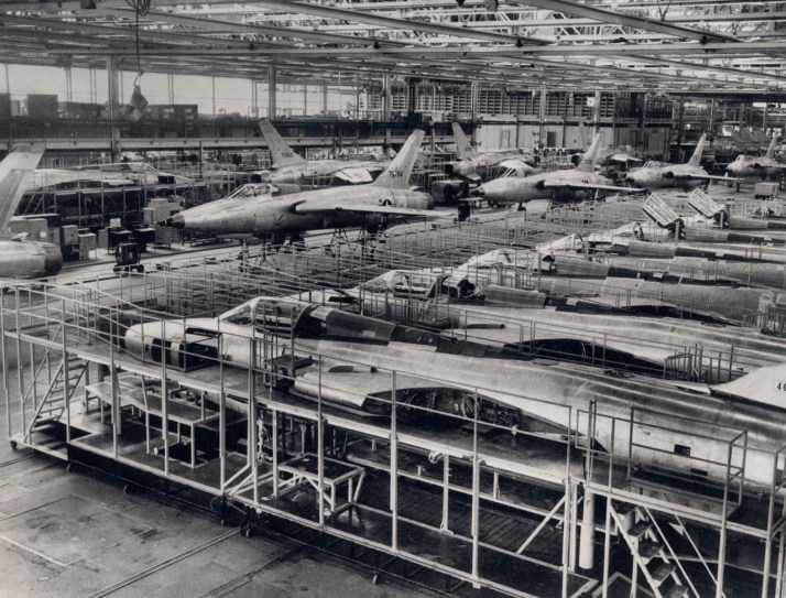 "F-105 Thunderchiefs under construction at the Republic Aviation plant in Farmingdale, NY.  Though it acquired the unflattering nickname ""Thud"", the 105 was a capable fighter-bomber which served from 1958 to 1984."