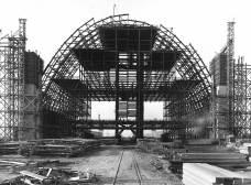 The north hangar under construction in Tustin circa 1943.