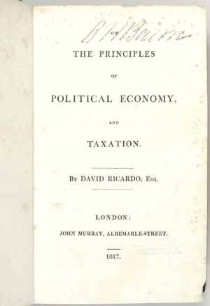 On The Principles of Political Economy and Taxation.
