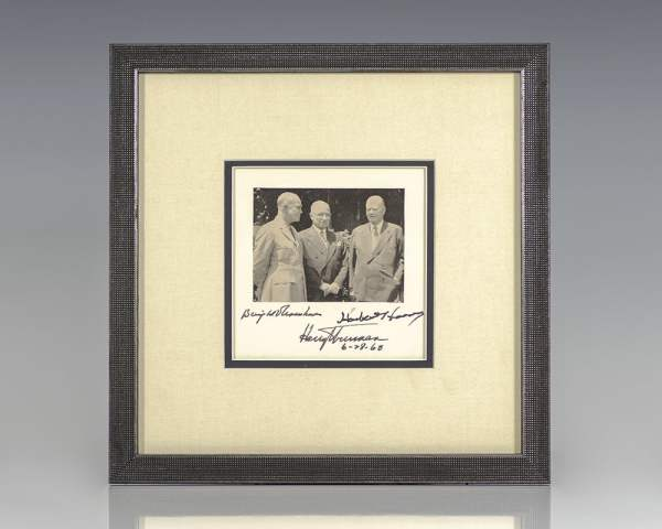 Dwight D. Eisenhower, Herbert Hoover and Harry S. Truman Signed Photograph.