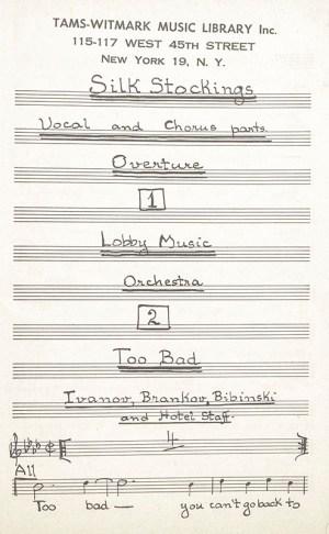 Silk Stockings Original Musical Script.