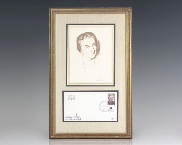 Golda Meir Signed Portrait.