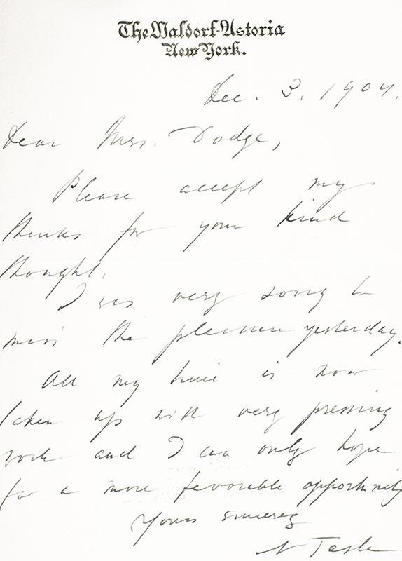 Nikola Tesla Autograph Note Signed.