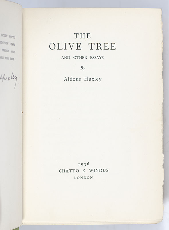 The Olive Tree and Other Essays.