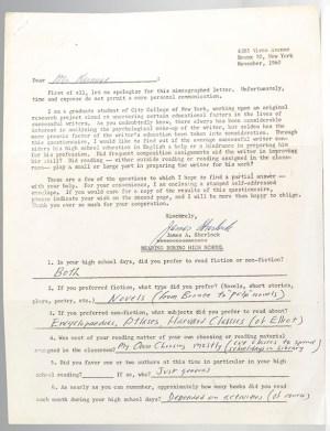 Jack Kerouac Autograph Questionnaire Signed.