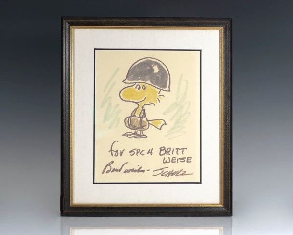 Charles Schulz Signed Woodstock Drawing.