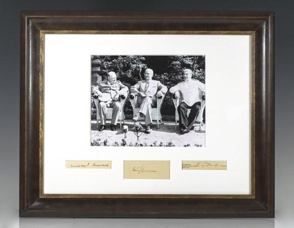 Harry S. Truman, Winston S. Churchill and Joseph Stalin Signatures.