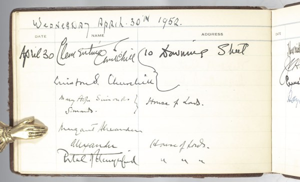 American Embassy in London Winston S. Churchill, Clementine Churchill, Elizabeth Queen Mother, Princess Margaret and Dwight D. Eisenhower Signed Guestbook.