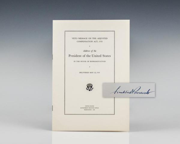 Veto message on the Adjusted Compensation Act, 1935: Address of the President of the United States in the House of Representatives, Delivered May 22, 1935.