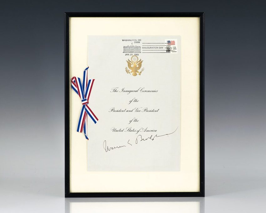 Chief Justice William H. Rehnquist and Justice Byron White Signed 1993 Inaugural Program.