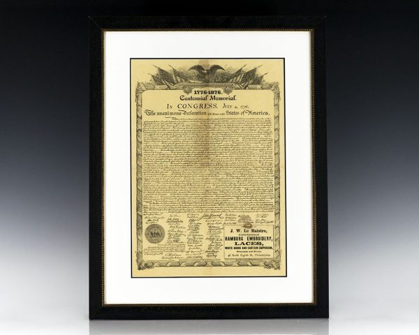 Declaration of Independence Centennial Memorial Broadside.