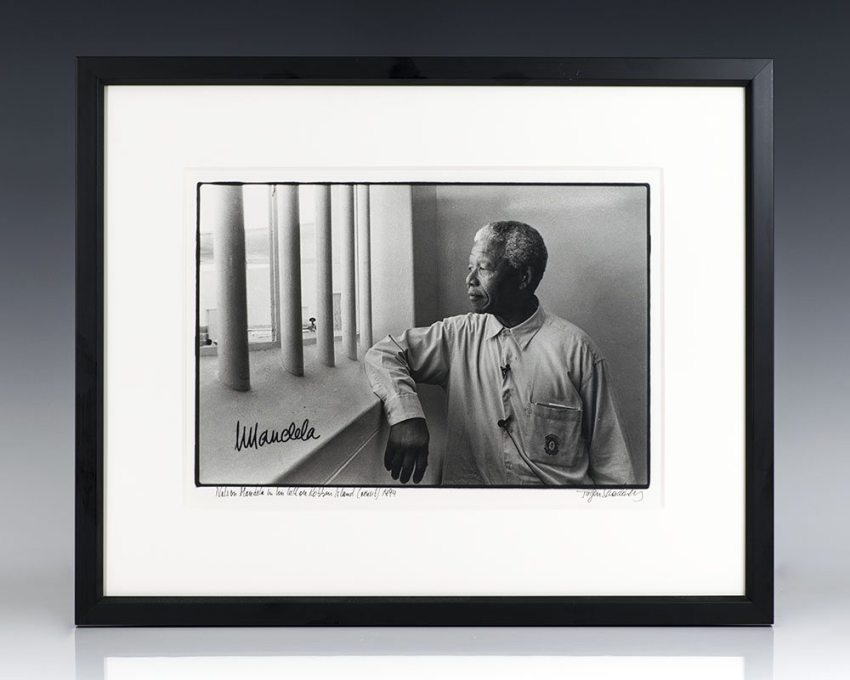 Silver Gelatin Print of Nelson Mandela at Robben Island; signed by Mandela and photographer Jurgen Schadeberg