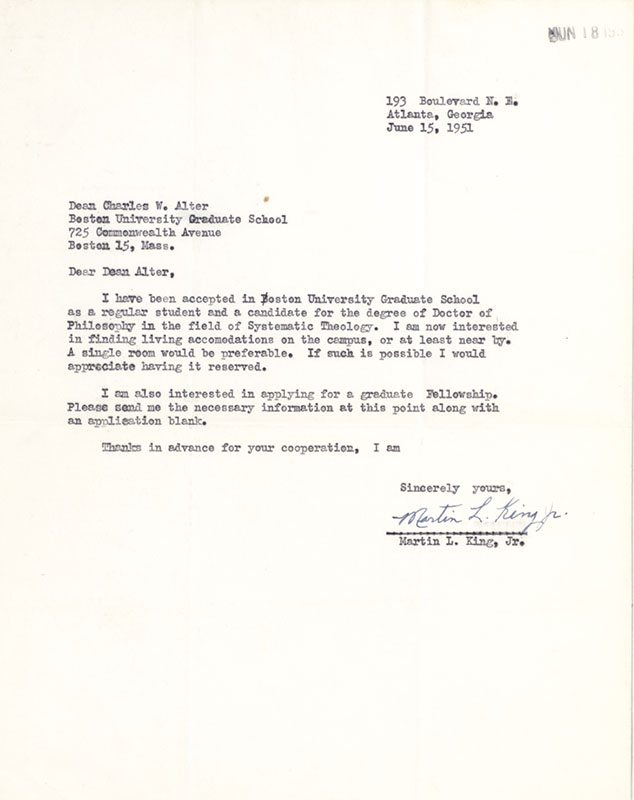 Martin Luther King Autograph Letter Signed.