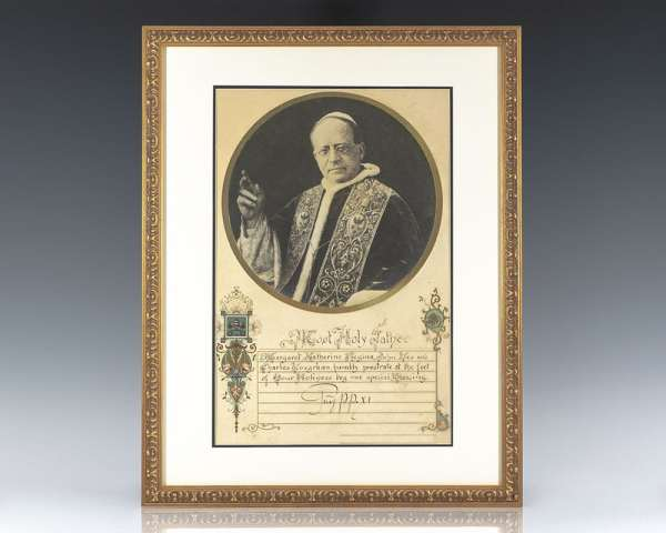 Pope Pius XI Hand-Illuminated Benediction Signed.