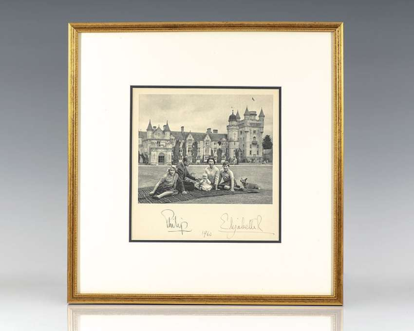 Queen Elizabeth and Prince Philip Signed Birth Announcement.